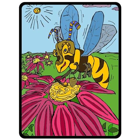 Bee World By Alienjunkyard   Fleece Blanket (large)   Npzntez1ew7r   Www Artscow Com 80 x60 Blanket Front