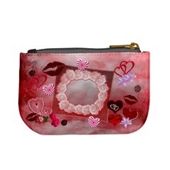 Valentine Kisses W/hearts N Roses Mini Coin Purse  By Ellan   Mini Coin Purse   V4i1forlv9qt   Www Artscow Com Back