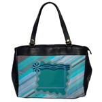 Blue flower office bag - Oversize Office Handbag