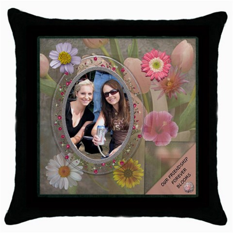 Our Friendship Forever Blooms Throw Pillow Case  By Lil    Throw Pillow Case (black)   Tect88yv15dp   Www Artscow Com Front