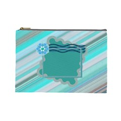 Blue Flower L Cosmetic Bag By Daniela   Cosmetic Bag (large)   Xmhtc84vamjo   Www Artscow Com Front