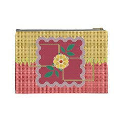 Yellow Flower L Cosmetic Bag By Daniela   Cosmetic Bag (large)   Sdbc4k9mfs5q   Www Artscow Com Back