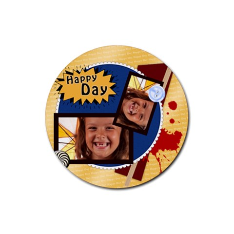 Happy Day By Joely   Rubber Coaster (round)   A79xi38b38hf   Www Artscow Com Front
