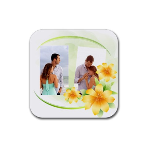 Love Flower By Wood Johnson   Rubber Coaster (square)   2v6oqkkg3y0d   Www Artscow Com Front