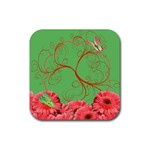 coaster_flowers and butterflies - Rubber Coaster (Square)