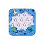 coaster_flowers and butterflies_2 - Rubber Coaster (Square)