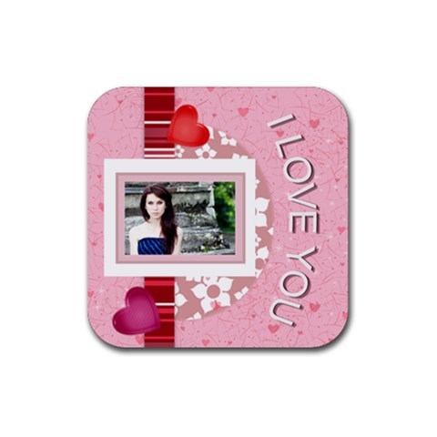 I Love You By Joely   Rubber Coaster (square)   1h0ivdfkqbb4   Www Artscow Com Front