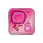 Love Life Pink square coaster - Rubber Coaster (Square)