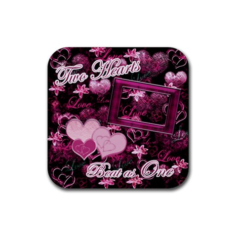 Two Hearts Beat As One Lav Square Coaster By Ellan   Rubber Coaster (square)   J7157ecenyjd   Www Artscow Com Front