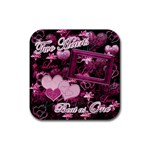 Two Hearts Beat as One lav square coaster - Rubber Coaster (Square)