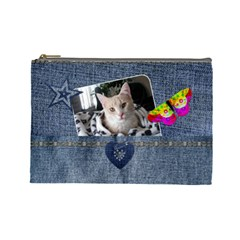 Denim Designed Large Cosmetic Bag By Lil    Cosmetic Bag (large)   O5j8apuzsoc4   Www Artscow Com Front