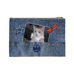 Denim Designed Large Cosmetic Bag By Lil    Cosmetic Bag (large)   O5j8apuzsoc4   Www Artscow Com Back