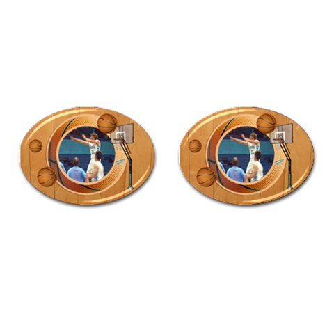 Basketball1 By Snackpackgu   Cufflinks (oval)   Kodw03tlzuhn   Www Artscow Com Front