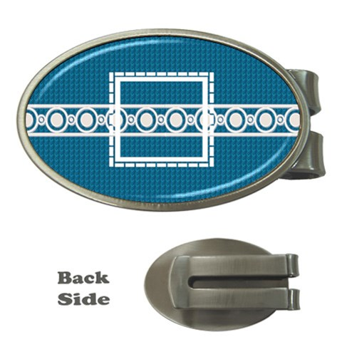 Blue Oval Money Clip By Daniela   Money Clip (oval)   Zd060j8qkxf9   Www Artscow Com Front
