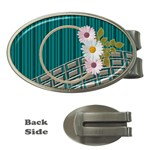 Daisy oval money clip - Money Clip (Oval)