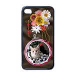 Pretty Floral Apple iPhone Case - Apple iPhone 4 Case (Black)