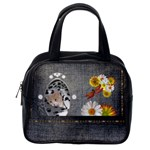 Black Denim Floral Classic Handbag - Classic Handbag (One Side)