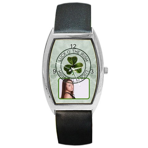 Luck O  The Irish Barrel Style Metal Watch By Lil    Barrel Style Metal Watch   Lkeohhrwa0r6   Www Artscow Com Front