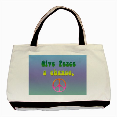 Give Peace A Chance By Charlotte Young   Basic Tote Bag   S7sjjov2l2hx   Www Artscow Com Front