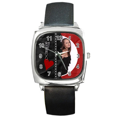 Funky Black/red Square Metal Watch By Lil    Square Metal Watch   Evegof7z3n35   Www Artscow Com Front