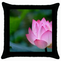 Pink Flowers Throw Pillow Case (Black)