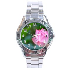 Pink Flowers Stainless Steel Analogue Men's Watch