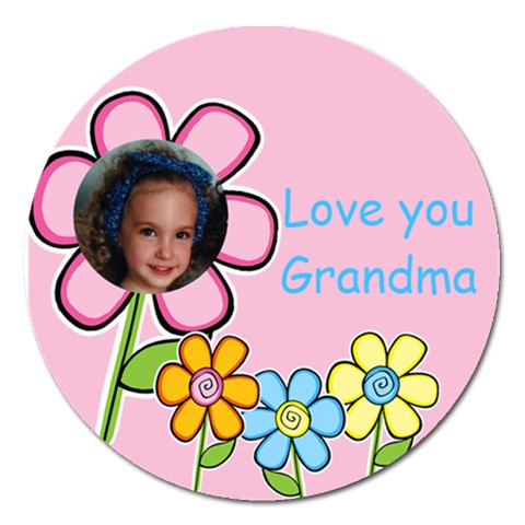 Love You Grandma Magnet By Deborah   Magnet 5  (round)   B5ua54777h5l   Www Artscow Com Front