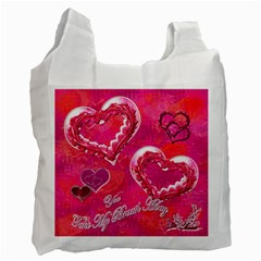 Hearts Hot Pink Recycle Bag 2 Sides By Ellan   Recycle Bag (two Side)   Nk6lwyspyccf   Www Artscow Com Front
