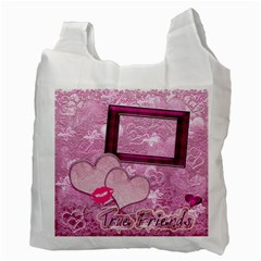 True Friends Pink Heart Recycle Bag 2 Sides By Ellan   Recycle Bag (two Side)   Frk487k8iacb   Www Artscow Com Back
