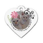 Pet Tag, Swirl with Pink Flower - Dog Tag Heart (One Side)