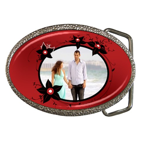 Flower Red By Wood Johnson   Belt Buckle   D4e2h6rw7hnc   Www Artscow Com Front