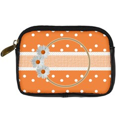 Orange Daisy Camera Leather Case By Daniela   Digital Camera Leather Case   Xlfxnyt85ds1   Www Artscow Com Front