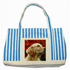 Dog Photo Cute Striped Blue Tote Bag by adriantesting