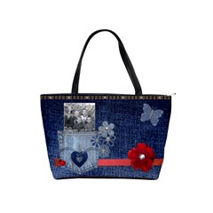Denim And Red Bag By Diane Sumsion   Classic Shoulder Handbag   Nvcy8ovs2o51   Www Artscow Com Front