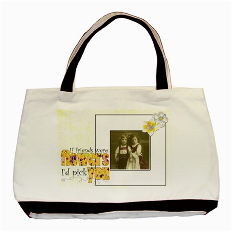 Flower Friends Classic Tote By Catvinnat   Basic Tote Bag   Oi977evk32zu   Www Artscow Com Front