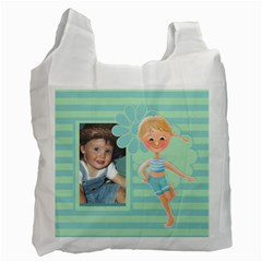 Blue Green Bag By Lillyskite   Recycle Bag (two Side)   3w6q4x18wuni   Www Artscow Com Front