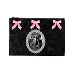 black & pink bow lg cosmetic bag - Cosmetic Bag (Large)