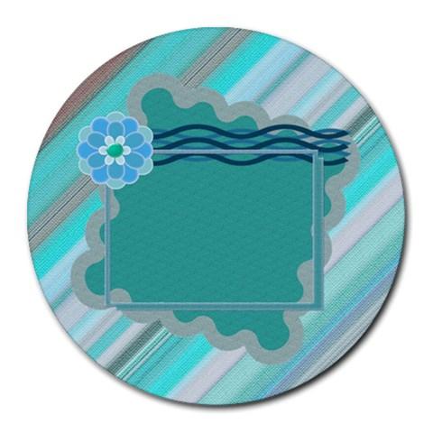 Blue Flower Mousepad By Daniela   Round Mousepad   8q0mnk5y46tq   Www Artscow Com Front