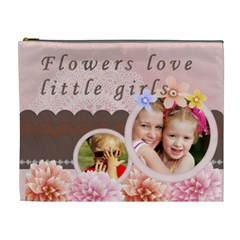 Flowers Love Little Girls By Joely   Cosmetic Bag (xl)   Xi0b6ji6nzeb   Www Artscow Com Front