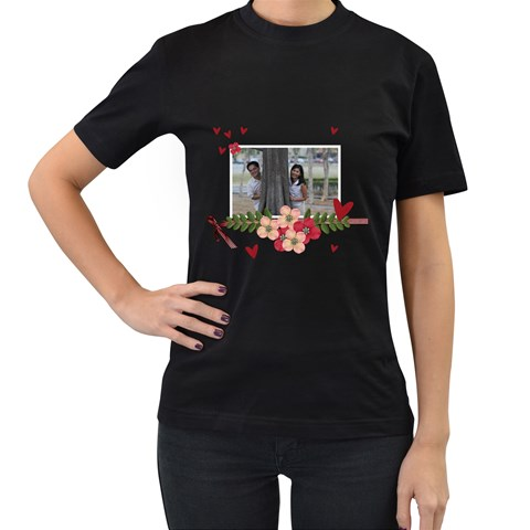 Women s Black T Shirt    Forever Love By Jennyl   Women s T Shirt (black)   4hg1qjidr1f1   Www Artscow Com Front