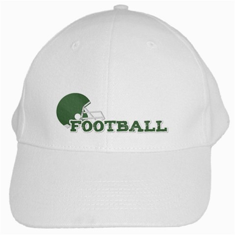 Touchdown (green And Blue) Hat 2 By Chelsea Winsor   White Cap   Ee9kclbdl6ku   Www Artscow Com Front