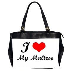 I Love My Maltese Oversize Office Handbag (two Sides) by happyc