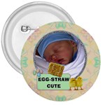 Egg-Straw Cute 3  Button