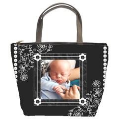 Simple Black/white Bucket Bag By Lil    Bucket Bag   J0wj83wwxg2m   Www Artscow Com Front