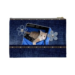 Denim Delight Large Cosmetic Bag By Lil    Cosmetic Bag (large)   4f2rtq92ex8c   Www Artscow Com Back