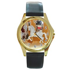 White Horse Round Gold Metal Watch by berry3333