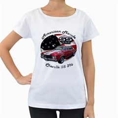 Chevy Chevelle SS 396 Maternity White T-Shirt by BlueRidgeArtisans
