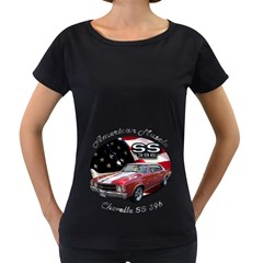 Chevy Chevelle SS 396 Maternity Black T-Shirt by BlueRidgeArtisans