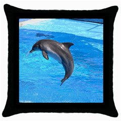 Jumping Dolphin Throw Pillow Case (black) by dropshipcnnet