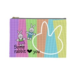 Some Rabbit Love You   Custom Cosmetic Bag (large) By Carmensita   Cosmetic Bag (large)   9t1p1eyemob2   Www Artscow Com Front